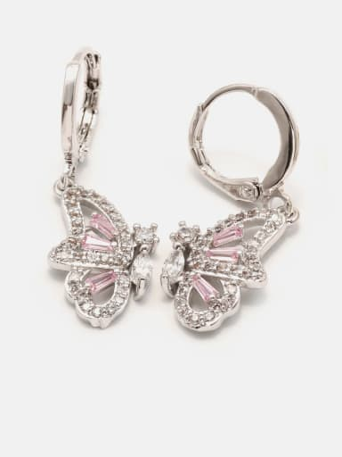 Platinum powder zirconium Brass Cubic Zirconia Butterfly Cute Drop Earring