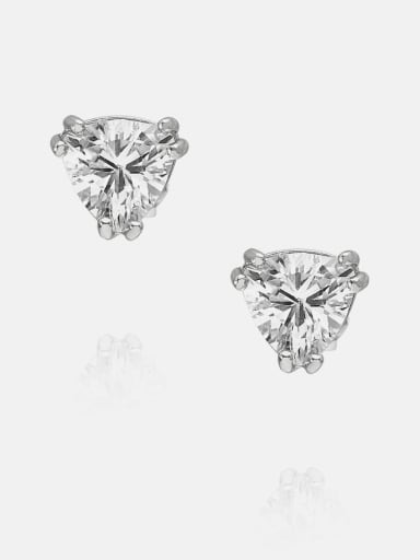6*6mm platinum white zirconium Brass Cubic Zirconia Triangle Minimalist Stud Earring