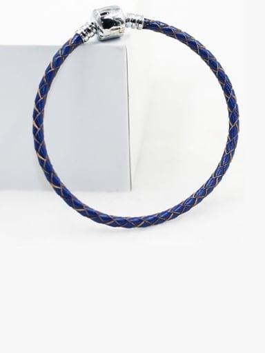 Blue Leather Woven 16-22cm Bracelet