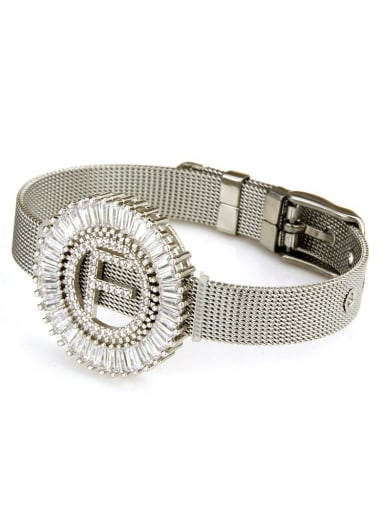 Brass Cubic Zirconia White Adjustable F Bracelet