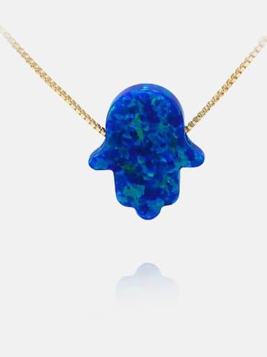 Golden Blue Brass Opal Irregular Minimalist Necklace