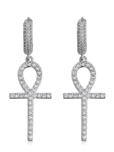 silvery Brass Trend Cluster Earring