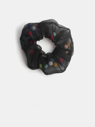 Black colored ball Minimalist Yarn Hair Barrette Large Intestine Circle