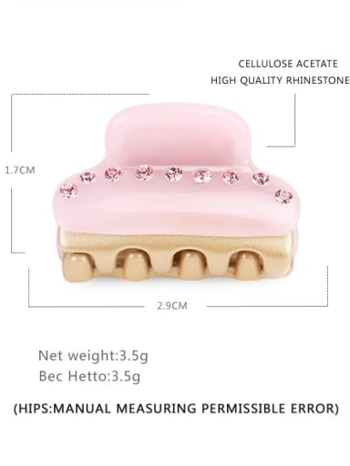 Candy pink Cellulose Acetate Minimalist Geometric Alloy Rhinestone Jaw Hair Claw