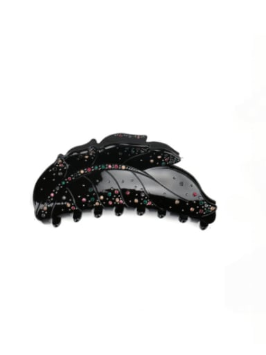 black Acrylic Minimalist Leaf Alloy Rhinestone Jaw Hair Claw