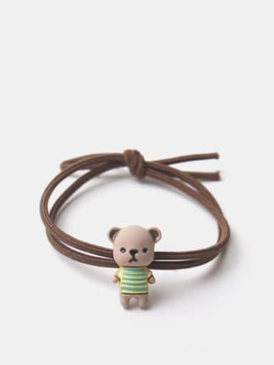 Brown rope bear Alloy Enamel Cute Bear  Multi Color Hair Rope