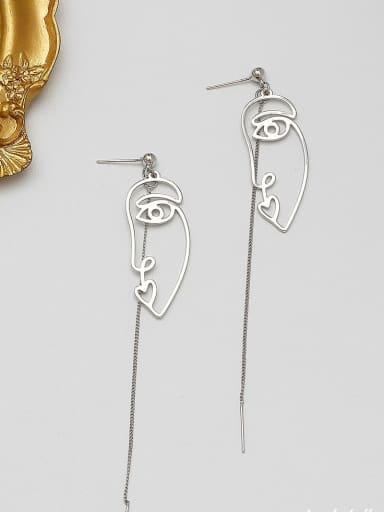 White K Copper Alloy Gold Geometric Minimalist Threader Earring