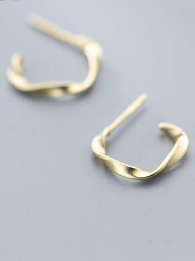 925 Sterling Silver Gold Irregular Classic Hoop Earring
