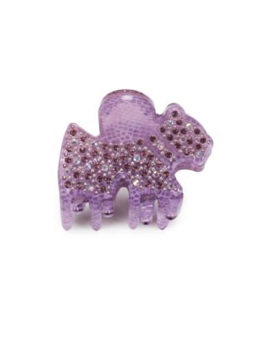 purple Acrylic Cute Horse Alloy Rhinestone Jaw Hair Claw