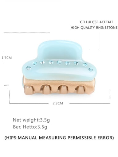 Mint Green Cellulose Acetate Minimalist Geometric Rhinestone Jaw Hair Claw