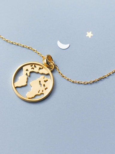 925 Sterling Silver Gold Round Trend Necklace