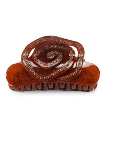 coffee Acrylic Minimalist Flower Alloy Rhinestone Jaw Hair Claw