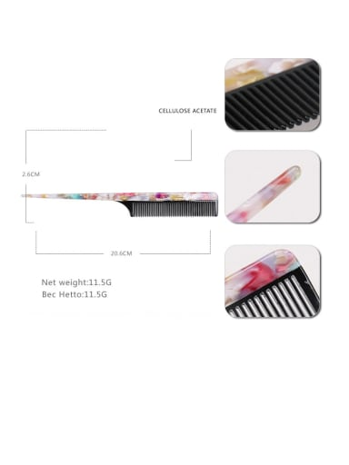 Broken flower color Cellulose Acetate Minimalist Geometric Multi Color Hair Comb