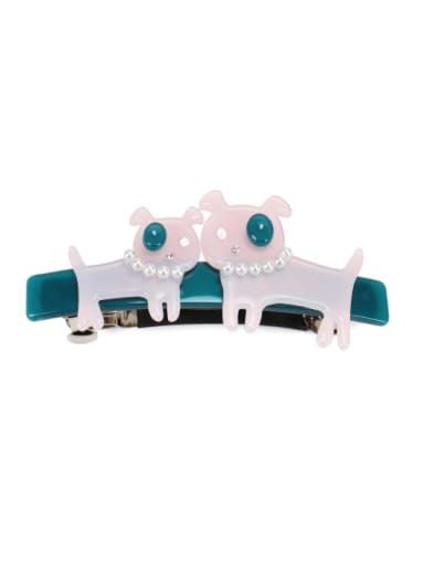 pink green Alloy Cellulose Acetate Vintage Icon  Dog  Hair Barrette