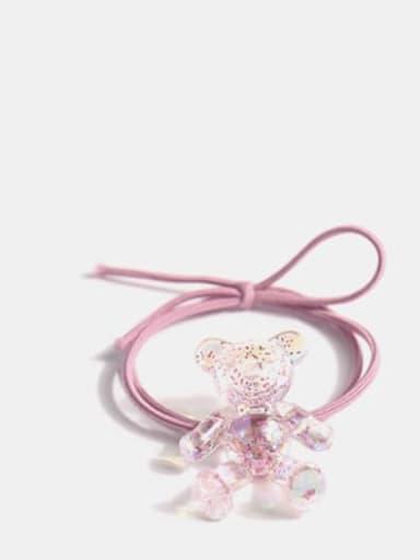 Pink Crystal Bear+ Pink Hair rope Cute Bear  Crystal Hair Barrette