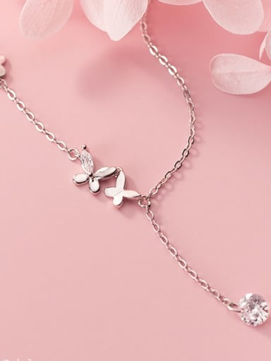 925 Sterling Silver Silver Butterfly Minimalist Necklace