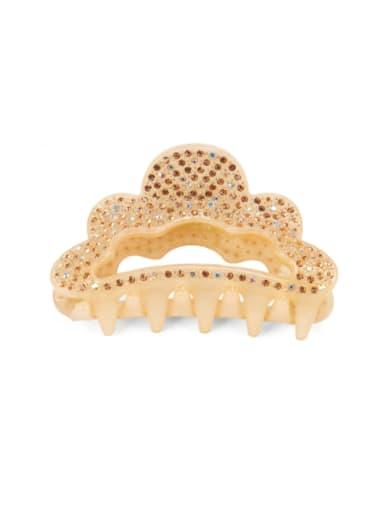 Champagne Acrylic Minimalist Crown Alloy Rhinestone Multi Color Jaw Hair Claw