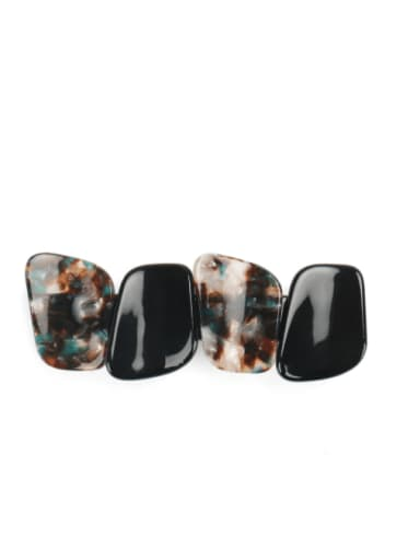 black Cellulose Acetate Minimalist Geometric Alloy Multi Color Hair Barrette