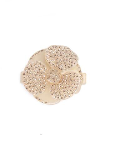 Champagne Cellulose Acetate Minimalist Flower Rhinestone Multi Color Hair Barrette