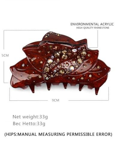 coffee Acrylic Minimalist Leaf Alloy Rhinestone Multi Color Jaw Hair Claw