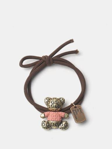 Pink t-shirt bear Alloy Enamel Cute Bear  Multi Color Hair Rope