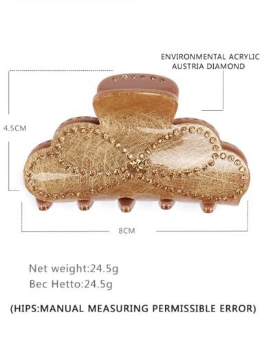 golden Acrylic Minimalist Geometric Rhinestone Jaw Hair Claw