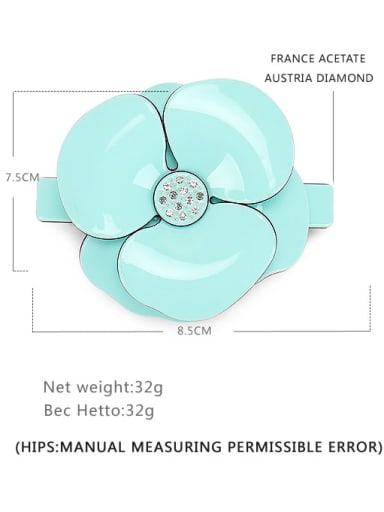 Light blue large Cellulose Acetate Minimalist Flower Alloy Rhinestone Hair Barrette