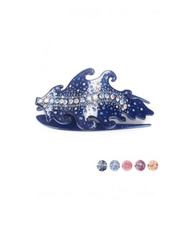Dark blue Acrylic Minimalist Leaf Rhinestone Multi Color Jaw Hair Claw