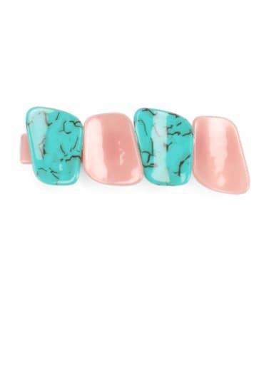 Green pink Cellulose Acetate Minimalist Geometric Alloy Multi Color Hair Barrette