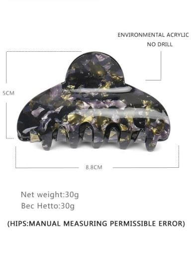 black Acrylic Minimalist Geometric Alloy Jaw Hair Claw