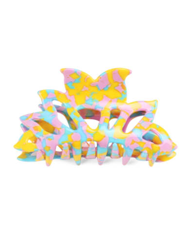 Colorful yellow Cellulose Acetate Minimalist Geometric Multi Color Jaw Hair Claw