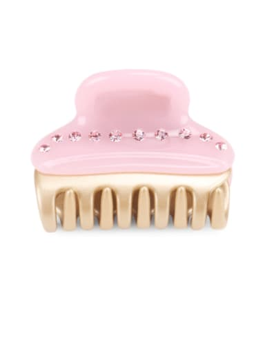 Pink Cellulose Acetate Minimalist Geometric Rhinestone Jaw Hair Claw