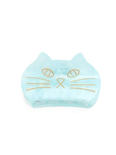 blue Cellulose Acetate Minimalist Cat Multi Color Jaw Hair Claw
