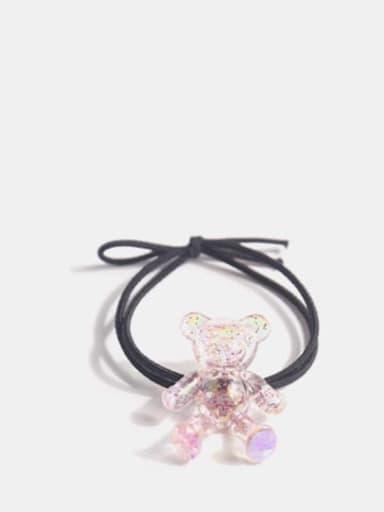 Pink crystal bear+ black hair rope Cute Bear  Crystal Hair Barrette