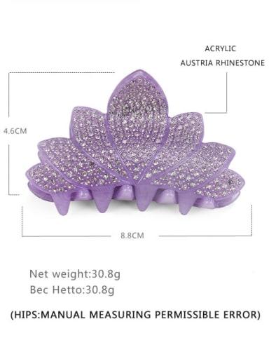 purple Acrylic Minimalist Leaf Rhinestone Jaw Hair Claw