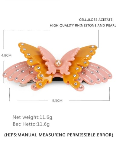 orange Cellulose Acetate Minimalist Butterfly Alloy Imitation Pearl Multi Color Hair Barrette