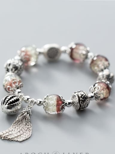 925 Sterling Silver Silver Geometric Luxury Charm Bracelet