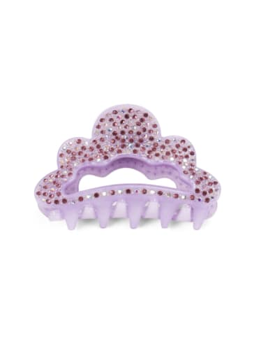purple Acrylic Minimalist Crown Alloy Rhinestone Multi Color Jaw Hair Claw