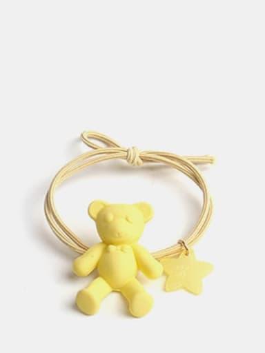 yellow Cute Bear+Resin Multi Color Hair Barrette