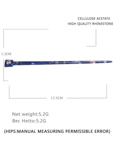 Dark blue Cellulose Acetate Minimalist Multi Color Hair Stick