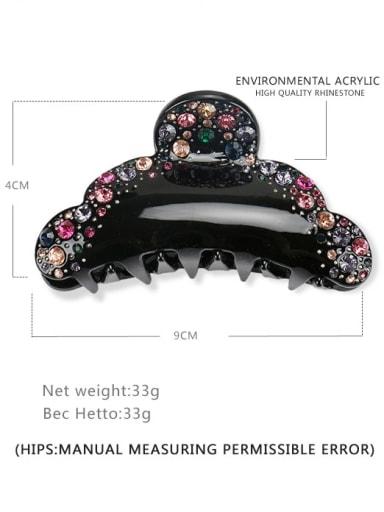 black Acrylic Minimalist Flower Alloy Rhinestone Jaw Hair Claw