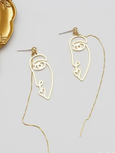Copper Alloy Gold Geometric Minimalist Threader Earring