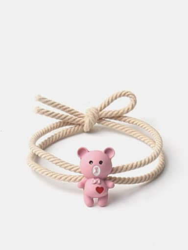 Printed love Bear Pink Alloy Cute Heart  Multi Color Hair Rope