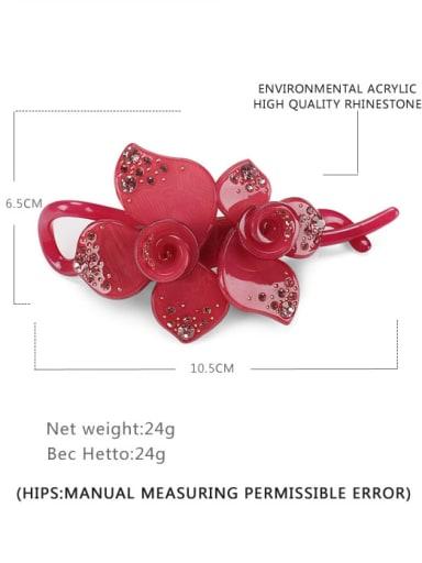gules Acrylic Minimalist Flower Rhinestone Multi Color Hair Barrette