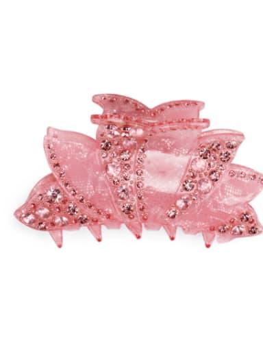 Pink Acrylic Minimalist Geometric Alloy Rhinestone Jaw Hair Claw