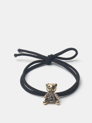 Diamond bear black rope Alloy Cute Bear Rhinestone Hair Rope