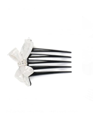 Pearl White Cellulose Acetate Minimalist Butterfly Multi Color Hair Comb