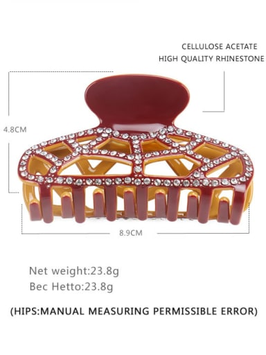 Orange pink Alloy Rhinestone Acrylic Minimalist Geometric Jaw Hair Claw