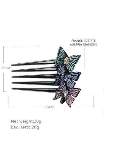 blue Alloy Rhinestone Cellulose Acetate Minimalist Butterfly