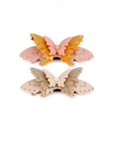 Cellulose Acetate Minimalist Butterfly Alloy Imitation Pearl Multi Color Hair Barrette
